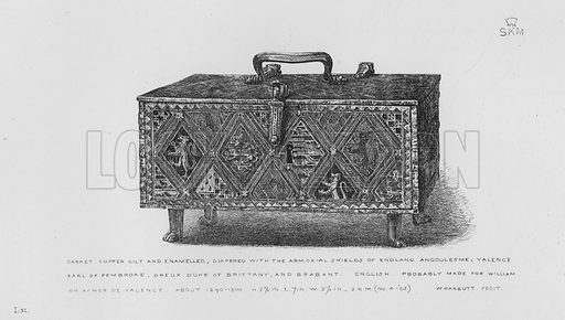 Casket, copper gilt and enamelled, diapered with the Armorial Shields of England, Angoulesme, Valence, Earl of Pembroke, Dreux Duke of Brittany, and Brabant, English, probably made for William or Aymer de Valence, about 1290-1300. Illustration for The South Kensington Museum, Examples of the Works of Art in the Museum and of the Decorations of the Building with Brief Descriptions (1881).