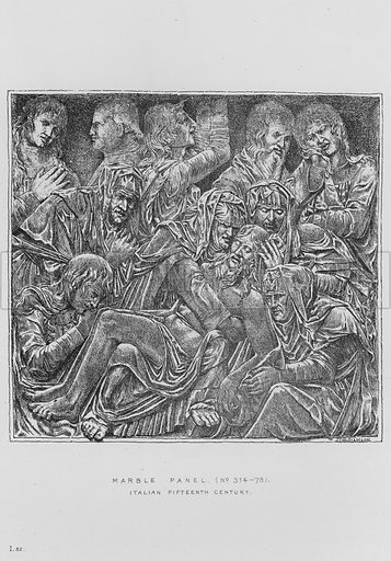 Marble Panel, Italian, fifteenth century. Illustration for The South Kensington Museum, Examples of the Works of Art in the Museum and of the Decorations of the Building with Brief Descriptions (1881).