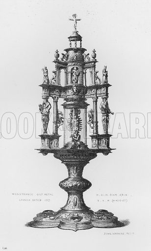 Monstrance, gilt metal, Spanish, dated 1537. Illustration for The South Kensington Museum, Examples of the Works of Art in the Museum and of the Decorations of the Building with Brief Descriptions (1881).