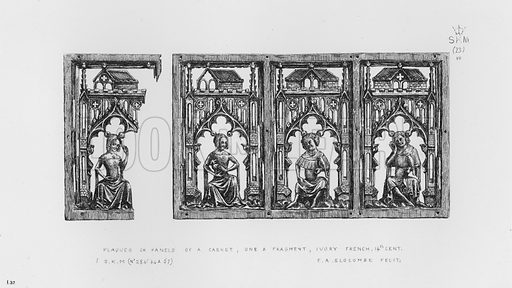 Plaques or Panels of a Casket, one a fragment, ivory, French, 14th century. Illustration for The South Kensington Museum, Examples of the Works of Art in the Museum and of the Decorations of the Building with Brief Descriptions (1881).