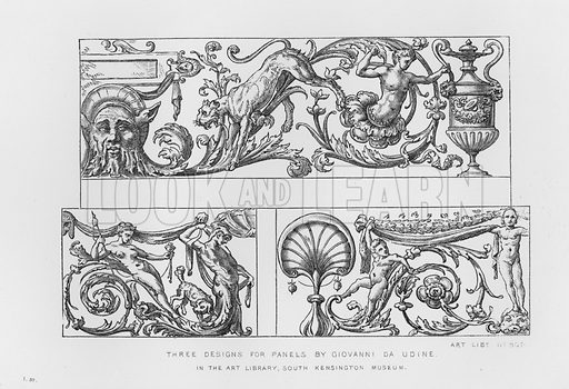 Three Designs for Panels by Giovanni da Udine. Illustration for The South Kensington Museum, Examples of the Works of Art in the Museum and of the Decorations of the Building with Brief Descriptions (1881).