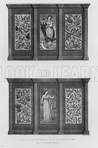 Portions of Decorations of the West Dining Room. Illustration for The South Kensington Museum, Examples of the Works of Art in the Museum and of the Decorations of the Building with Brief Descriptions (1881).