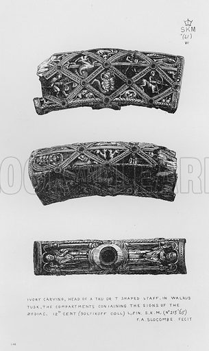 Ivory carving, Head of a Tau or T Shaped Staff, in walrus tusk, the compartments containing the signs of the zodiac, 12th century. Illustration for The South Kensington Museum, Examples of the Works of Art in the Museum and of the Decorations of the Building with Brief Descriptions (1881).
