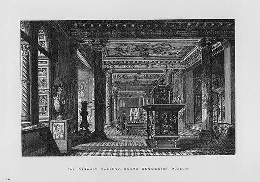 The Ceramic Gallery. Illustration for The South Kensington Museum, Examples of the Works of Art in the Museum and of the Decorations of the Building with Brief Descriptions (1881).