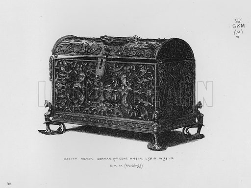 Casket, silver, German, 17th century. Illustration for The South Kensington Museum, Examples of the Works of Art in the Museum and of the Decorations of the Building with Brief Descriptions (1881).