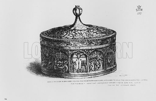 Box with Cover in box wood, Necking and Knob in chased silver, intended to hold the unconsecrated wafers for the mass, Venetian, second half 14th century. Illustration for The South Kensington Museum, Examples of the Works of Art in the Museum and of the Decorations of the Building with Brief Descriptions (1881).