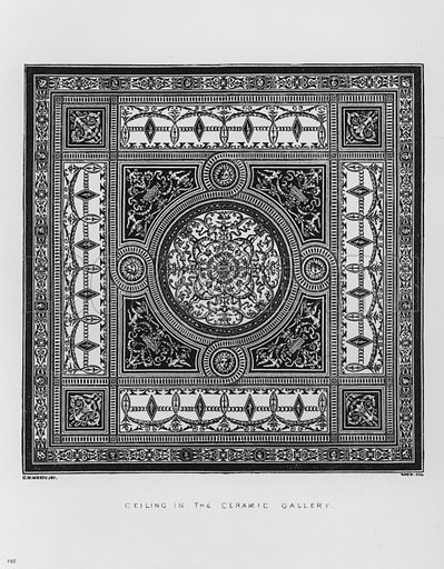 Ceiling in the Ceramic Gallery. Illustration for The South Kensington Museum, Examples of the Works of Art in the Museum and of the Decorations of the Building with Brief Descriptions (1881).