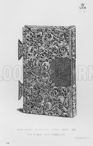 Book Cover, silver gilt, Dutch, about 1670. Illustration for The South Kensington Museum, Examples of the Works of Art in the Museum and of the Decorations of the Building with Brief Descriptions (1881).