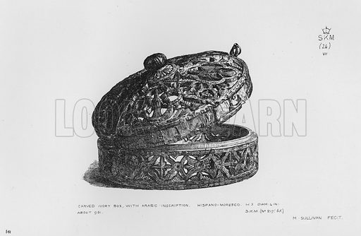 Carved Ivory Box, with Arabic inscription, Hispano-Moresco. Illustration for The South Kensington Museum, Examples of the Works of Art in the Museum and of the Decorations of the Building with Brief Descriptions (1881).