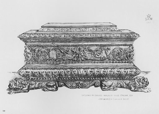 Cassone in carved walnut wood, Italian, 1550. Illustration for The South Kensington Museum, Examples of the Works of Art in the Museum and of the Decorations of the Building with Brief Descriptions (1881).