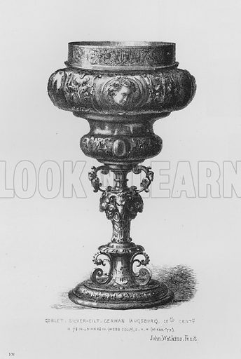 Goblet, silver-gilt, German, Augsburg, 16th century. Illustration for The South Kensington Museum, Examples of the Works of Art in the Museum and of the Decorations of the Building with Brief Descriptions (1881).
