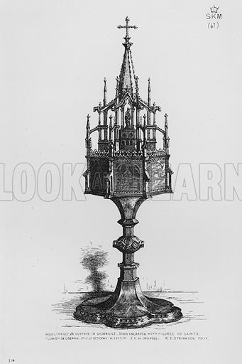 Monstrance or Custode in silver-gilt, sides engraved with figures of saints, Flemish or German, 1st half 15th century. Illustration for The South Kensington Museum, Examples of the Works of Art in the Museum and of the Decorations of the Building with Brief Descriptions (1881).