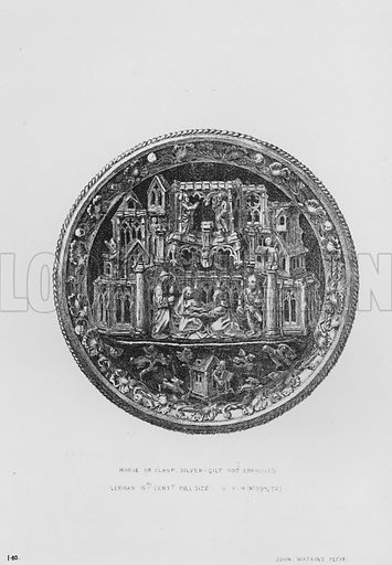 Morse or Clasp, silver-gilt and enamelled, German, 15th century. Illustration for The South Kensington Museum, Examples of the Works of Art in the Museum and of the Decorations of the Building with Brief Descriptions (1881).