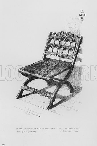 Child's Folding-Chair, in carved walnut, Flemish, date about 1600. Illustration for The South Kensington Museum, Examples of the Works of Art in the Museum and of the Decorations of the Building with Brief Descriptions (1881).