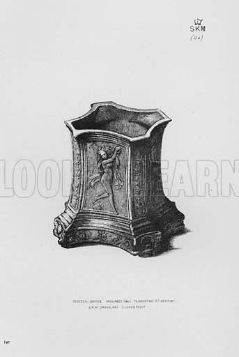 Pedestal, bronze, Soulages Coll, Florentine, 15th century. Illustration for The South Kensington Museum, Examples of the Works of Art in the Museum and of the Decorations of the Building with Brief Descriptions (1881).