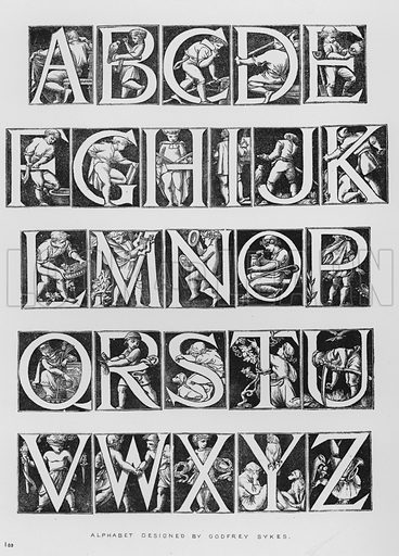 Alphabet designed by Godfrey Sykes. Illustration for The South Kensington Museum, Examples of the Works of Art in the Museum and of the Decorations of the Building with Brief Descriptions (1881).