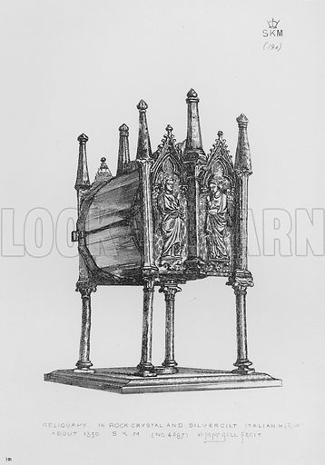 Reliquary, in rock crystal and silver gilt, Italian, about 1350. Illustration for The South Kensington Museum, Examples of the Works of Art in the Museum and of the Decorations of the Building with Brief Descriptions (1881).