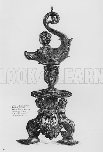 Lamp or Candlestick, bronze, Italian, about 1570. Illustration for The South Kensington Museum, Examples of the Works of Art in the Museum and of the Decorations of the Building with Brief Descriptions (1881).