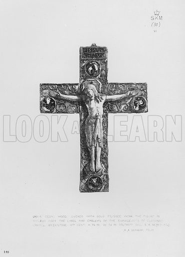 Cross, cedar wood, covered with gold filigree work, the figure in walrus ivory, the label and emblems of the Evangelists of cloisonne enamel, Byzantine, 10th century. Illustration for The South Kensington Museum, Examples of the Works of Art in the Museum and of the Decorations of the Building with Brief Descriptions (1881).