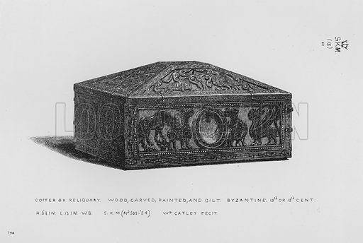 Coffer or Reliquary, wood, carved, painted, and gilt, Byzantine, 12th or 13th century. Illustration for The South Kensington Museum, Examples of the Works of Art in the Museum and of the Decorations of the Building with Brief Descriptions (1881).