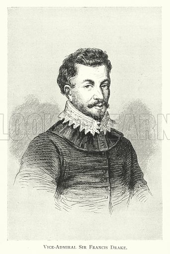 Vice-Admiral Sir Francis Drake. Illustration for The Story of the Armada (T Nelson, 1887).