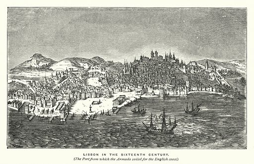 Lisbon in the sixteenth century. Illustration for The Story of the Armada (T Nelson, 1887).