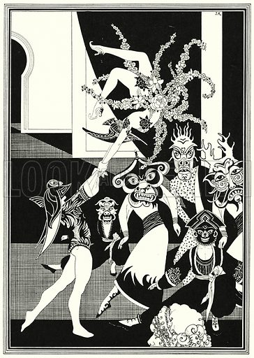 Ballet Efritois. Illustration for The Story of Aladdin and the Wonderful Lamp, told by John Kettelwell with illustrations and other embellishments by the Author (Knopf, 1928).