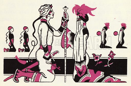 Embellishment for The Story of Aladdin and the Wonderful Lamp, told by John Kettelwell with illustrations and other embellishments by the Author (Knopf, 1928).