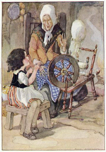 The grandmother started up from her spinning-wheel. Illustration for Heidi by Johanna Spyri translated by Helene S White (Harrap, c 1924).