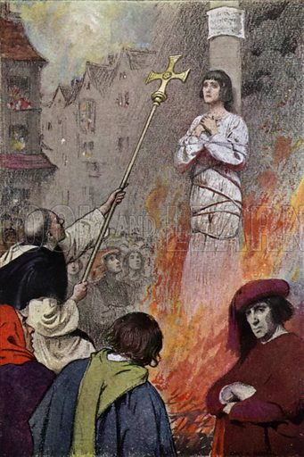 In Rouen Market-Place. Illustration for The Story of Jeanne D'Arc by E M Wilmot-Buxton (Harrap, 1924).