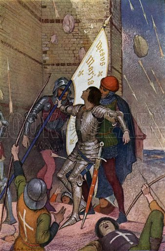 Jeanne wounded before Paris. Illustration for The Story of Jeanne D'Arc by EM Wilmot-Buxton (Harrap, 1924).