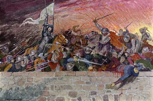 """""""In God's name, forward!"""" Illustration for The Story of Jeanne D'Arc by E M Wilmot-Buxton (Harrap, 1924)."""