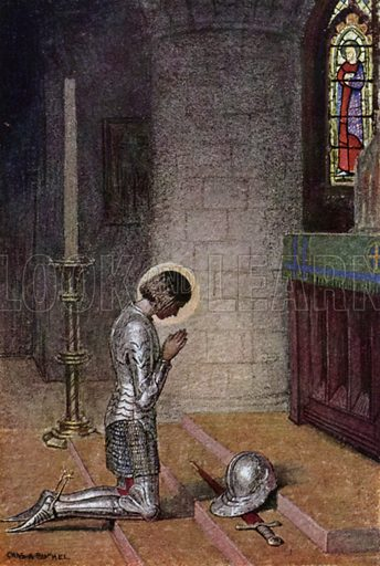 Before the Altar. Illustration for The Story of Jeanne D'Arc by E M Wilmot-Buxton (Harrap, 1924).