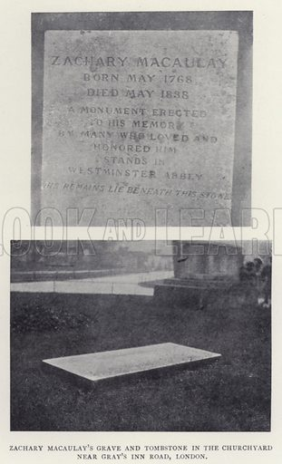 Zachary Macaulay's Grave and Tombstone in the Churchyard near Gray's Inn Road, London. Illustration for The Struggle for Freedom or The Slave in History by William Stevens (Religious Tract Society, c 1900).