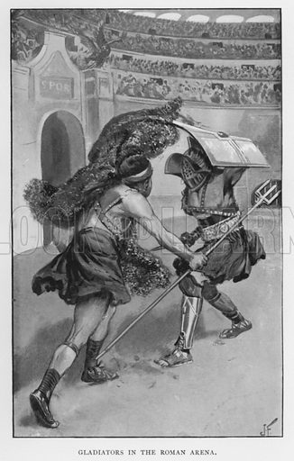 Gladiators in the Roman Arena. Illustration for The Struggle for Freedom or The Slave in History by William Stevens (Religious Tract Society, c 1900).