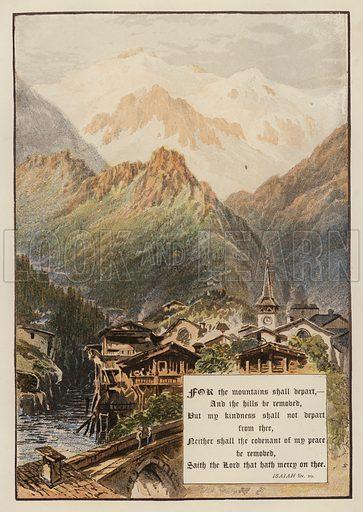 For the mountains shall depart, And the hills be removed, But my kindness shall not depart from thee, Neither shall the covenant of my peace be removed, Saith the Lord that hath mercy on thee, Isaiah LIV, 10. Illustration for The Sunday at Home (1878).