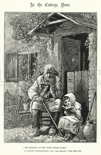 At the Cottage Door. Illustration for The Sunday at Home (1878).
