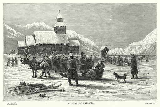 Sunday in Lapland. Illustration for The Sunday at Home (1878).