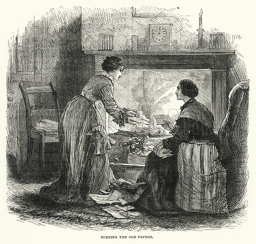 Burning the Old Papers. Illustration for The Sunday at Home (1878).