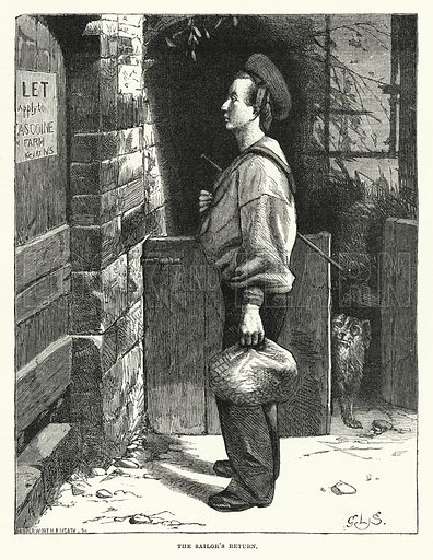 The Sailor's Return. Illustration for The Sunday at Home (1878).