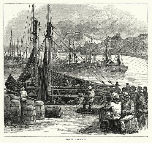 Howth Harbour. Illustration for The Sunday at Home (1878).
