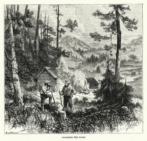 Clearing the Farm. Illustration for The Sunday at Home (1878).