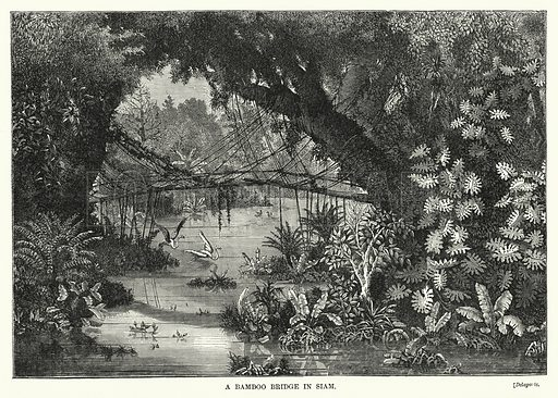 A Bamboo Bridge in Siam. Illustration for The Sunday at Home (1878).