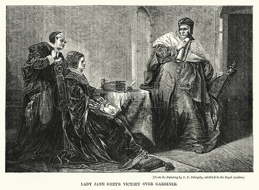 Lady Jane Grey's Victory over Gardiner. Illustration for The Sunday at Home (1878).