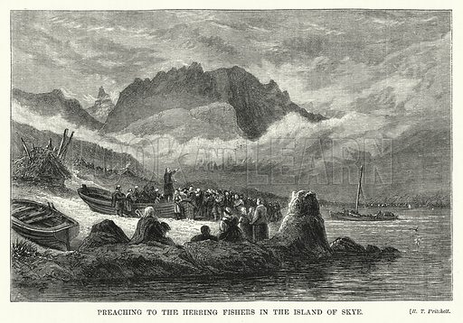 Preaching to the Herring Fishers in the Island of Skye. Illustration for The Sunday at Home (1878).