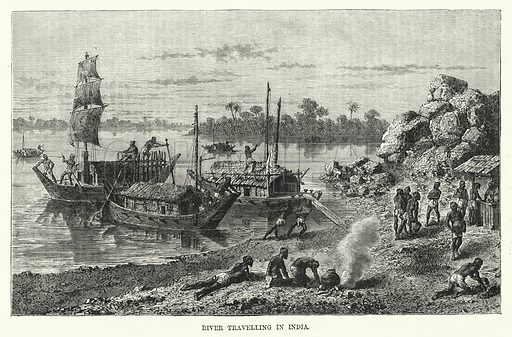River Travelling in India. Illustration for The Sunday at Home (1878).