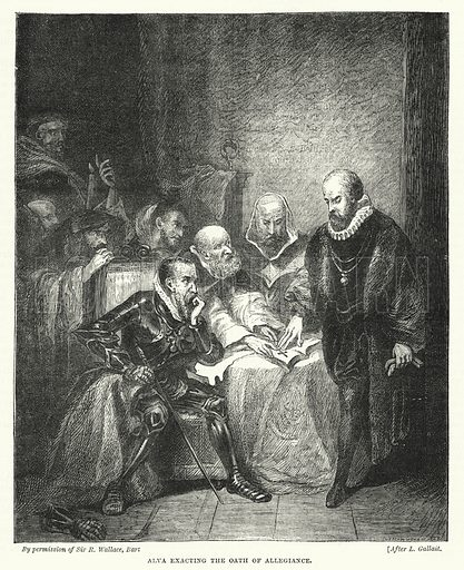 Alva exacting the Oath of Allegiance. Illustration for The Sunday at Home (1878).