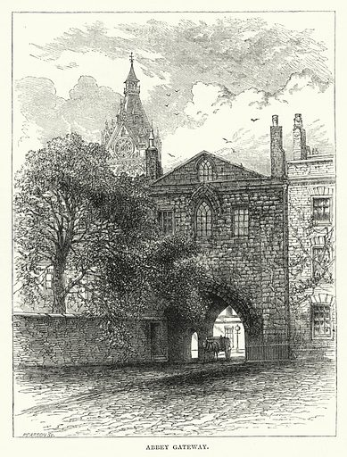 Abbey Gateway. Illustration for The Sunday at Home (1878).