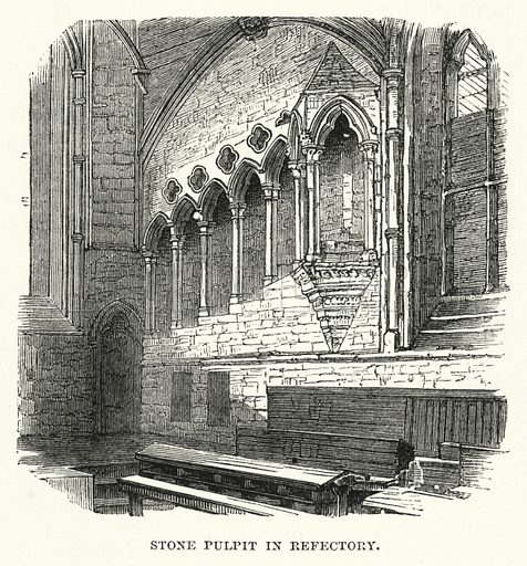 Stone Pulpit in Refectory. Illustration for The Sunday at Home (1878).