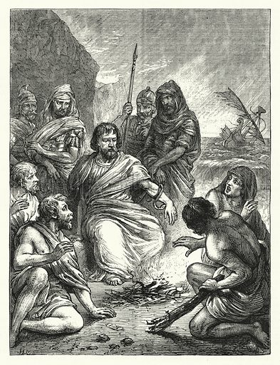 St Paul and the Maltese Viper. Illustration for The Sunday at Home (1878).